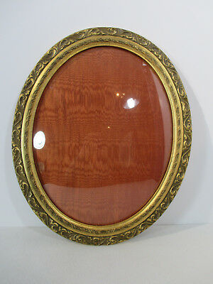 """Picture Frame Oval Vintage Embossed Wood Floral Convex Glass Victorian 11"""" x 14"""""""