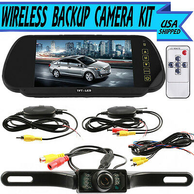 7 Inch Car TFT LCD Monitor Mirror + Wireless Reverse Rear View Backup Camera Kit