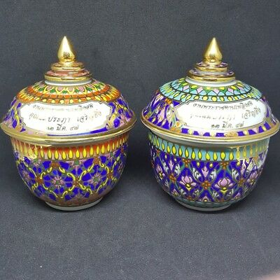Traditional thai benjarong porcelain hand painted ceramic pottery collectible