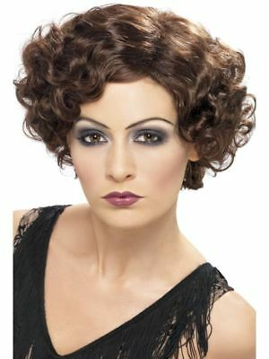 Smiffys 20s Flirty Flapper Wig, Brown, Short and Wavy - Female - One Size