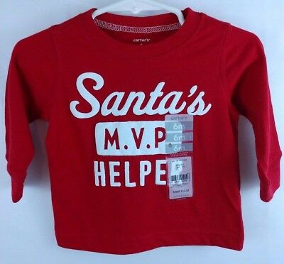 NWT New Carters Baby Red Boys Size 6 Months Santas Helper MVP Christmas LS Shirt