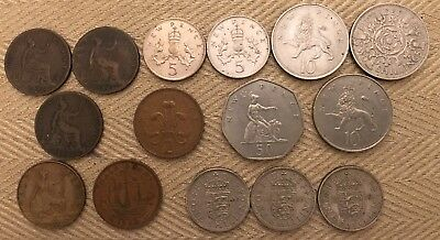 Lot of 15 UK Coins, 2/5/10/50 Pence, 1/2 Shilling, half penny