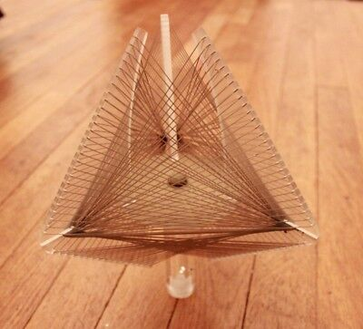Vintage 60s Mid Century Modern Lucite Wire Art Finial Triangle Pyramid Space Age