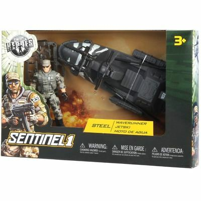 UP FOR SALE:True Heroes Sentinel 1 Action Figure and Vehicle - Steel - Waverunne