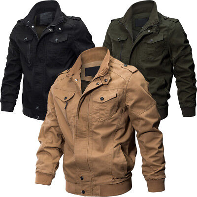 IM- Men's Air Force Military Jacket Stand Collar Coat Tactical Casual Outwear Ar