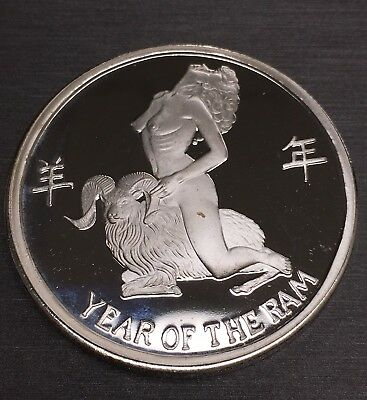 Stunning Year Of The Ram 100 Mills .999 Silver Clad 1 Oz Coin!