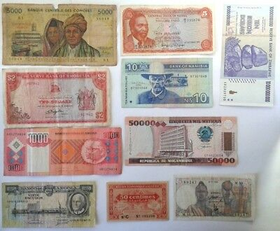Rhodesia 2 Dollars 1976 Plus Assorted African Banknotes