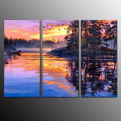 Canvas Print Landscape Home Decor Wall Art Sunset Beach Painting Picture 3pcs