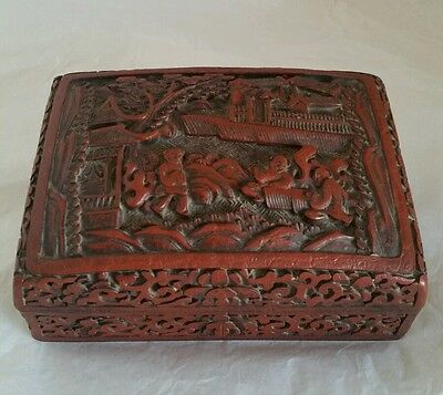 An antique Chinese Export hand carved Cinnabar box & cover . Circa C19th