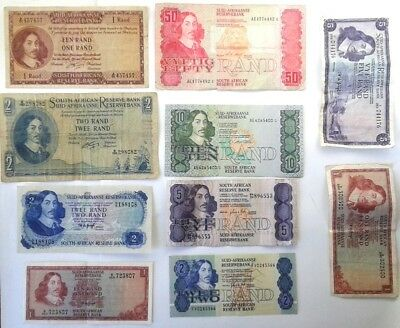 10 Different Banknotes from South Africa