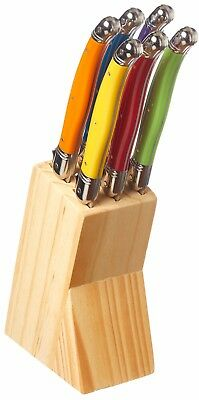 Set of 6 Colourful Laguiole Steak Knives in Wooden Block Steak Knife Set