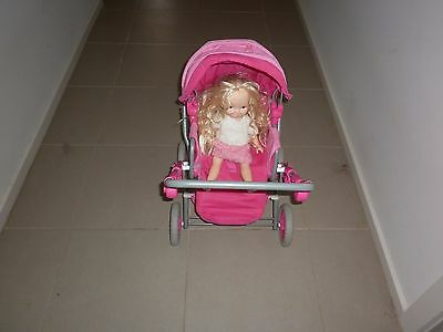 Doll Stroller/pram/pusher & Doll - Folds Up - Moveable Back & Front Piece & Hood