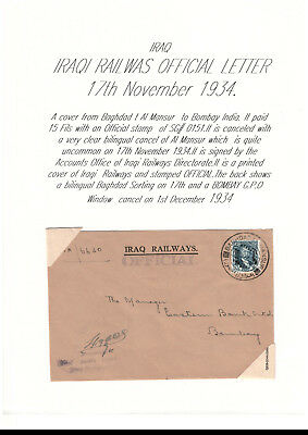 British Iraq 1934 Railways official letter to Bombay G:P:O India with a SG O161