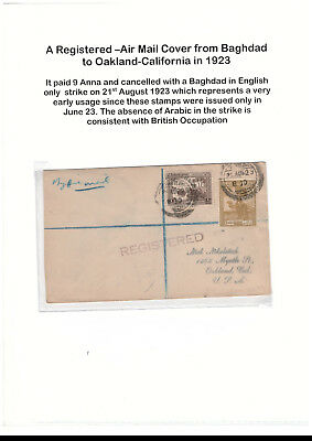 British Iraq 1923 registered airmail cover Baghdad to Oakland California SG 42/8