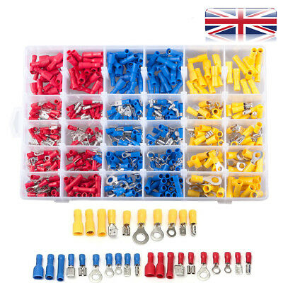 480Pcs Electrical Crimp Ring Spade Connectors Insulated Wire Terminals Set UK