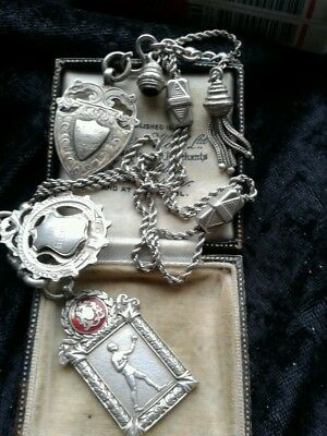 sterling silver vintage albert chain with three fobs