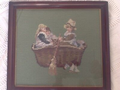 Vintage Tapestry - Women Children In A Coracle- Framed
