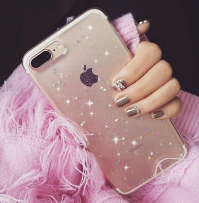 Handy Hülle Silikon Schutz Cover Slim Glitzer Bling iPhone XS Max Samsung HUAWEI
