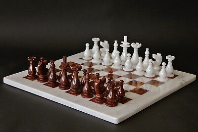 "16"" Professional Chess Set White & Red-Brown Marble Hand Made in Velvet Gift Box"