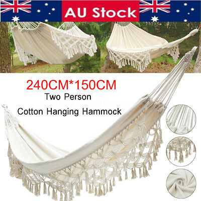350KG Double Hammock Strong Rope Swinging Hanging Chair Camping Beach Yard Patio