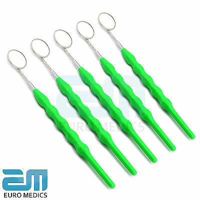 Dental Set Of 5 Dentists Teeth Inspection Mouth Mirror Green Handle With Mirror