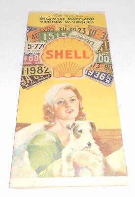 Vintage 1933 Shell Oil Road Map Delaware Maryland Virginia West Virginia