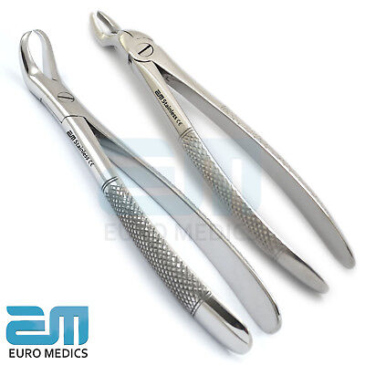 Set Of 2 Dental Tooth Extraction Forceps For Lower Molars Decayed Dentistry Lab