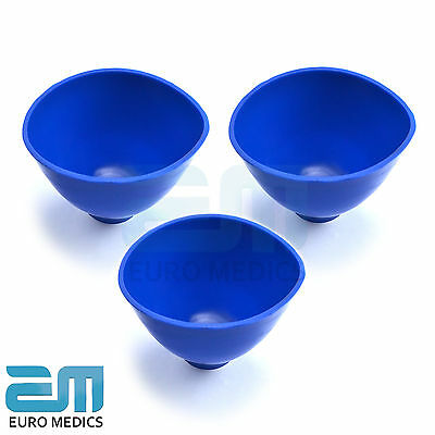 Set Of 3 Dental Blue Mixing Alginate Bowl Flexible Rubber Mixing Bowl Labs Tools