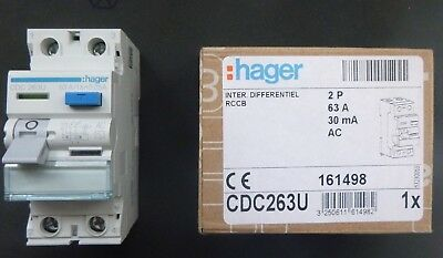 Hager RCD 63 Amp 30mA Double Pole 63A RCCB 161498 CDC263U NEW IN BOX (BSEN61008)