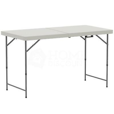 4ft Folding Table White Trestle Picnic Camping Dining Party Heavy Duty Portable