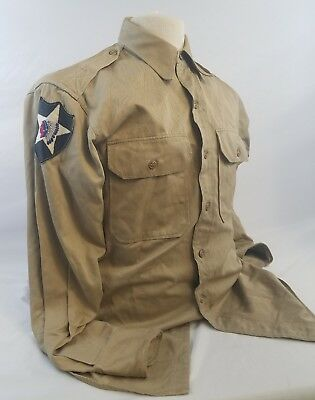 WW2 WWII US U.S. Uniform 2nd Infantry Division,Shirt,Army,Dress,Original,Khaki