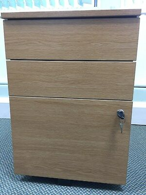 3 Drawer Wooden Underdesk Cabinet No Keys