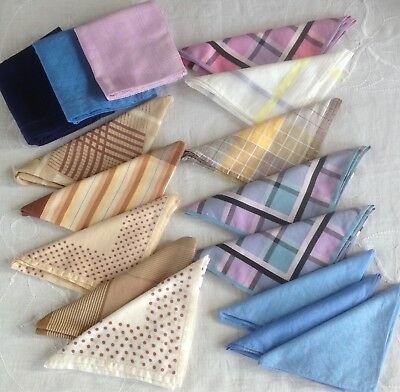 Job Lot 16 Vintage Handkerchiefs Some Silk