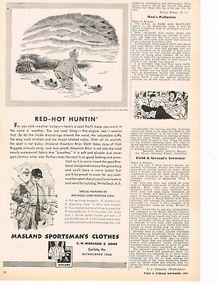 Vintage 1947 MASLAND Sportsman's Clothes Duck Hunting Cartoon & WOOLRICH Ads