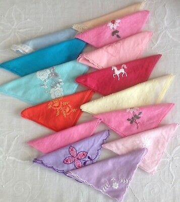 Collection 14 Coloured Cotton Vintage Handkerchiefs