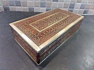 Antique Anglo Indian Brass Inlaid Rosewood Box With Superb Intricate Detail