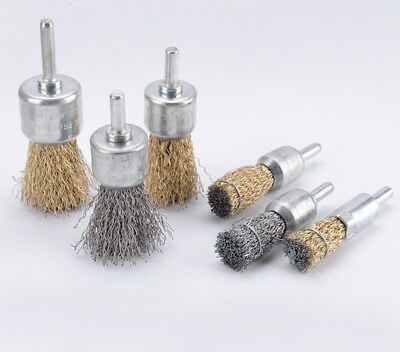 Stainless Steel Brass Wire Cup End Brush Set 1/4'' Shank For Rotary Tools Drills