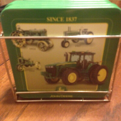 John Deere Quality Farm Equipment Drink Coasters with Chrome Holder