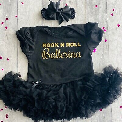 BABY GIRL ROCK N ROLL BALLERINA Tutu Romper Dress DANCER Princess Love Gift Cute