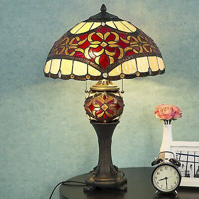 """Cloud Mountain Tiffany Style 16"""" Lampshade Table Lamp Baroque Desk Lamp Floral"""