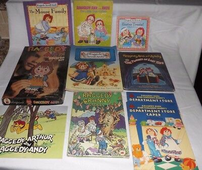 (Group of 8) Raggedy Ann and Andy Books and Raggedy Ann Dress-Up Kit