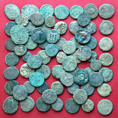 Lots of 70 Follis Maiorina AE2 AE3 AE4 ancient Roman bronze coins - uncleaned