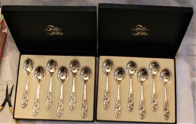 830S Silver Brodrene Mylius Norway Spoon set of 12, Mint Cond,Boxed,Tele Pattern