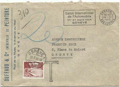 Helvetia 20C Geneve 1954 Lettre Non Affranchie Mecanique Salon Automobile