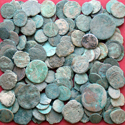 Lots of 150 Follis Maiorina AE3 AE4 Low Poor Junk - late Roman coins uncleaned