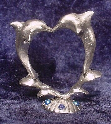 Pewter DOLPHINS forming HEART with BLUE CRYSTAL ACCENTS