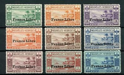 New Hebrides French 1941 to 2f SGF65/74 (exc 40c) MNH cat £178 see desc