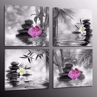 Canvas Prints Wall Art Home Decor Oil Painting Picture Bamboo Stone Flowers 4pcs
