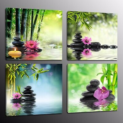 Wall Art Zen Canvas Prints Stone Green Bamboo Flowers Home Decor Pictures 4pcs