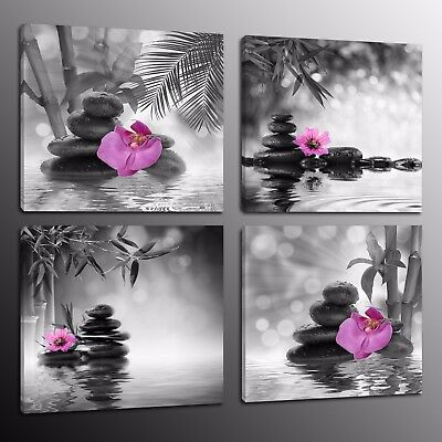 Large Canvas Prints Wall Art Home Decor Painting Poster Bamboo Stone Flower 4pcs